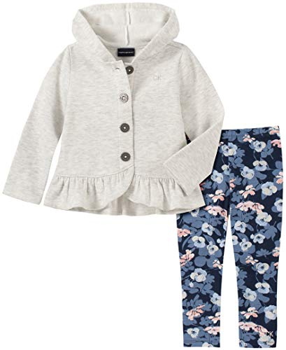 Calvin Klein Baby Girls 2 Pieces Jacket Pants Set, Oatmeal Heather/Print, 12M