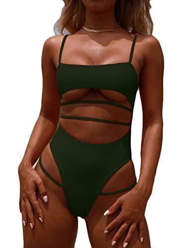 MOPOOGOSS Bikini Bathing Suit for Women Sexy Tank Top Spaghetti Cutout Straps Brazilian Style High Leg Thong Bottom One Piece Beachwear Amy Green Small