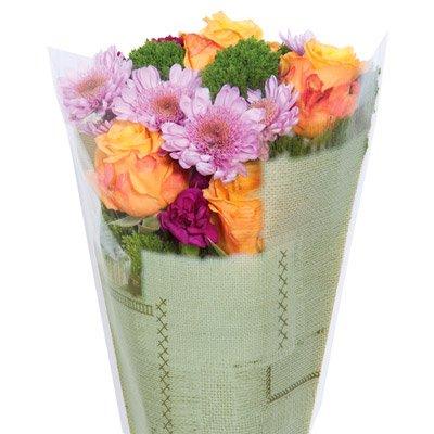 Burlap-Look Cut Flower Bouquet Sleeves - Green - Sleeves Measure 17'' x 17'' x 4.5''