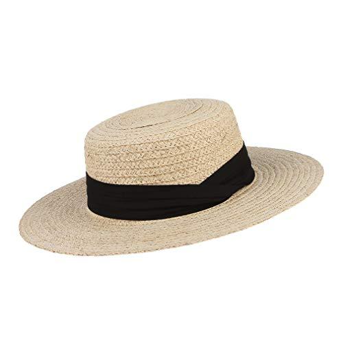 GEMVIE Women Straw Flat Top Boater Hat Braided Straw Wide Brim Summer Beach Cap Ribbon Straw Fedora Sun Hat (Prada Woven Band)