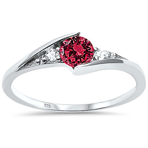 Round Ruby Solitaire (Sterling Silver New Round Simulated Simulated Ruby Solitaire Fashion Ring Sizes 10)