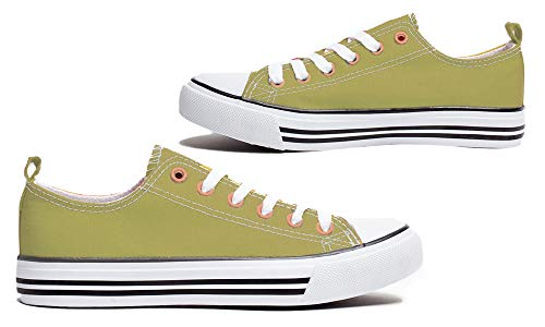 Women's Canvas Shoes Classic Low Top Sneaker Fashion Skater Athletic Cap Toe Light Olive