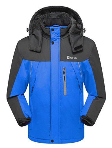 Ubon Men's Waterproof Mountain Jacket Fleece Windproof Ski Jacket(Blue,US M)