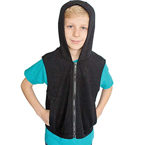 Fun and Functions Weighted Fleece Hoodie - Helps with Mood & Attention, Sensory Over Responding, Sensory Seeking, Travel Issues - Size L