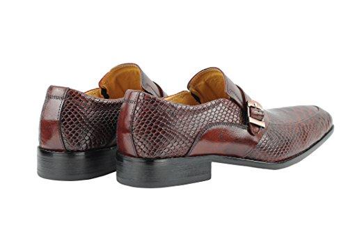 Herren Echt Leder Schlangenleder Print Tonal braun Abendkleid Mönch Gurt Smart Schuhe