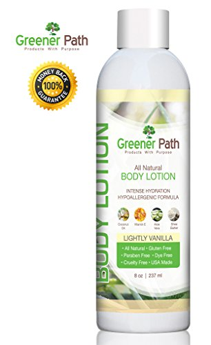 Premium All Natural and Organic Hand and Body Lotion by Greener Path | Vanilla Body Lotion 8 Oz. | Organic Coconut Oil, Aloe Vera & Shea Butter | Organic Moisturizer | Safe Hydrating Body Lotion