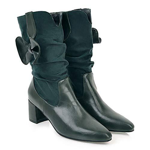 Inverno Boots Stivali Slip Donna on Cavaliere Invernali Tacco Verde Snow Eleganti Autunno Stivaletti Martin Con Challenge Alto Scarpe qa48dwq
