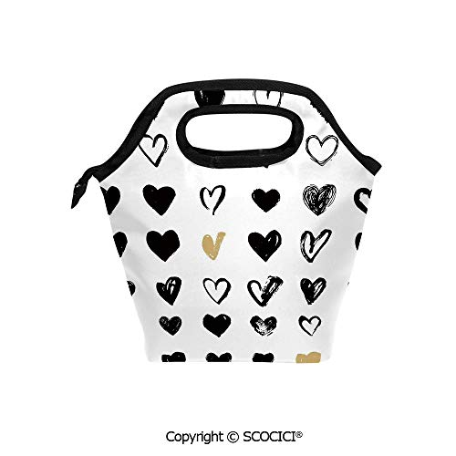 Reusable Printed Design Lunch Bag Small Heart Icons Let Me Love You Stylized Hipsters Liking Spouse Couples Art Design Lunch Tote bag for Work and School.]()
