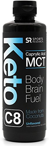 Keto MCT Oil containing ONLY Caprylic Acid (C8) ~ Keto & Vegan Diet Friendly, Gluten & Dairy Free ~ Made from Non-GMO Coconuts (16oz Leak-Proof Bottle)