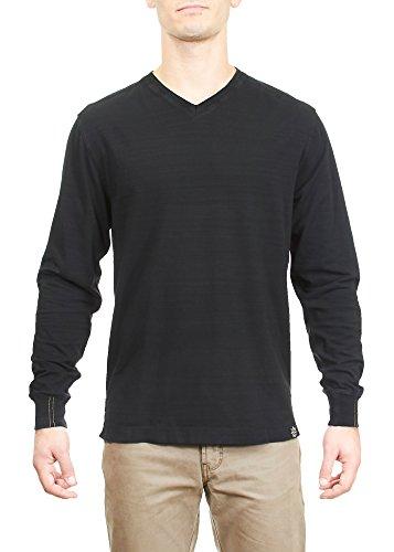 Thaddeus Mens Vaughn LS 95% Cotton 5% Spandex Slub Jersey V Neck Black (Braided Trim V-neck Top)