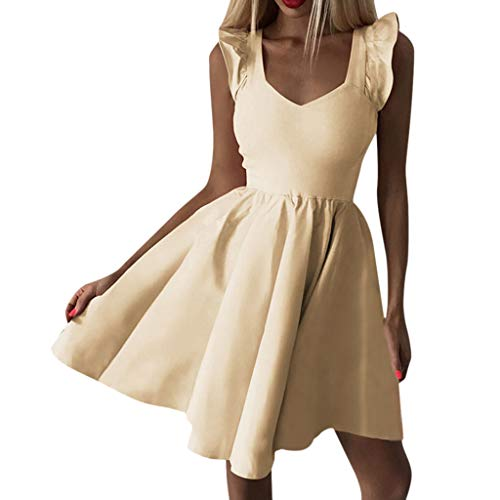 Sanyyanlsy Women's A-Line Skater Dress Low-Cut Flare Short Sleeve Empire Solid Color Above Knee Mini Dress Party Dating Yellow