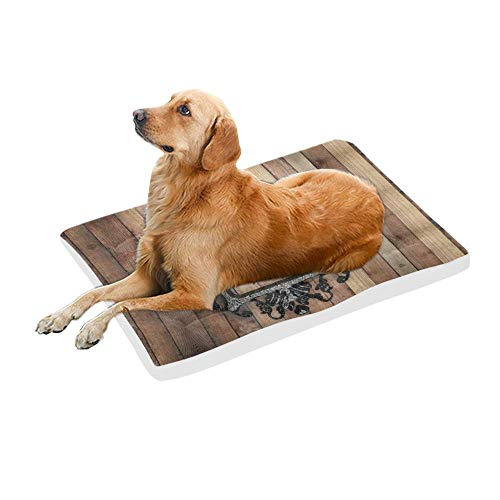 InterestPrint Western Texas Star with Vintage Iron Frame On Wooden Wall Dog Bed Mat Soft Washable Pet Pad Mattress for Dog or Cat Sleeping, 42x26 - Texas Star Irons