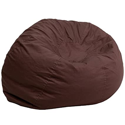e496fe65df Amazon.com  Flash Furniture Oversized Solid Brown Bean Bag Chair  Kitchen    Dining