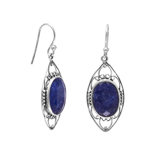 - Oxidized Rough-Cut Sapphire 925 Sterling Silver French Wire Earrings