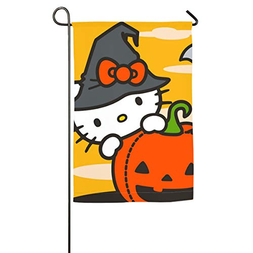 Criss Hello Kitty Cartoon Happy Halloween Decorative Garden Flags - Weather Resistant & Double Stitched - 18 X 12.5 Inchfor Home Seasonal Outdoor Decor