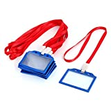 DealMux Plastic Horizontal Style School Name Tag ID Card Holder 10 Pcs Blue Red