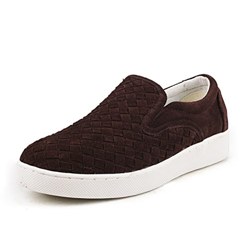 Shenduo Men's Suede Leather Sneakers Lace up Espadrilles Flat Shoes D7366 Coffee2 2w3sS2Y