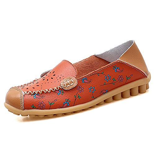 Cut Out Leather Shoe - Ablanczoom Shoes for Women Flats Comfortable Leather Floral Print Hollow Out Loafers Casual Breathable Slip on Driving Walking Shoes Orange