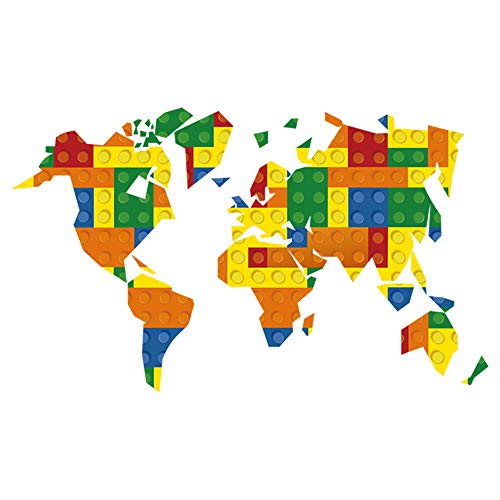decalmile Building Blocks World Map Wall Sticker Kids Wall Decals Baby Nursery Childrens Bedroom Living Room Wall Decor -