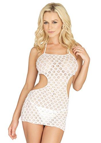 (Leg Avenue Women's Crochet Lace Halter Cut Out Mini Dress, White O/S)