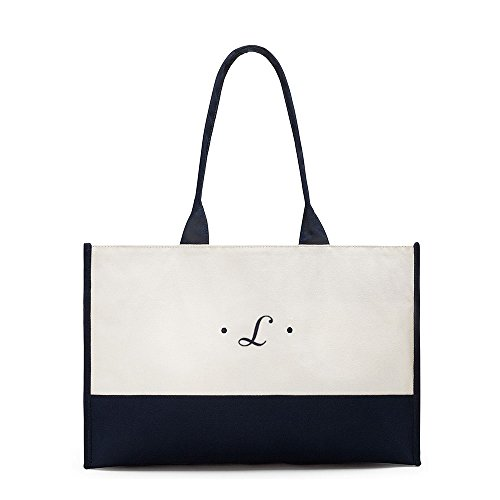 White Initial Script Bag Tone Two Classic Canvas Classic First and Navy Tote wqpTPU