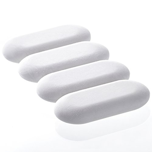 Fabric Pencil Eraser - Emraw White Oval Soft Pencil Mark Eraser Rubber for School, Office, Art, Drawing (4-Pack)