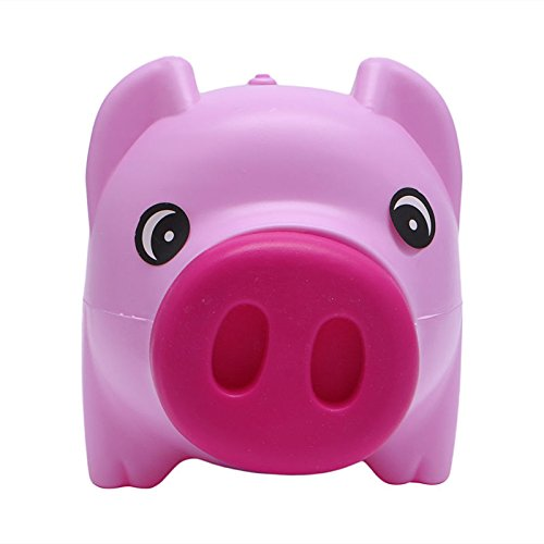 Pink-day Plastic Piggy Bank Coin Money Cash Collectible Saving Box Pig Toy Kids Gift Red