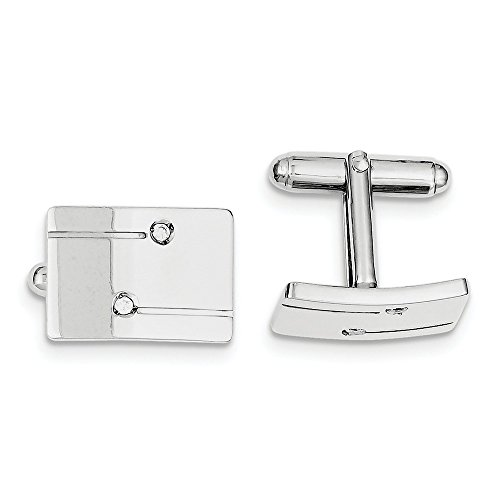 925 Sterling Silver Men's Rectangle with Cubic Zirconia Cuff Links
