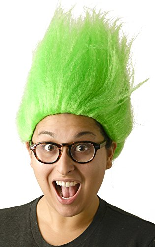 Green Troll Wig | Bright Green Unisex Troll Doll Costume Hair for Adults, Kids, Men, Women, Cosplay -