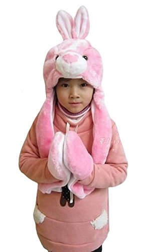 al Hood Hoodie Hat with Attached Scarf and Mittens (Pink Bunny) ()