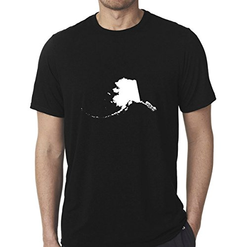 StickAny Poly/Cotton Unisex Black Shirt Series Alaska AK (Design Color: White) (Large)