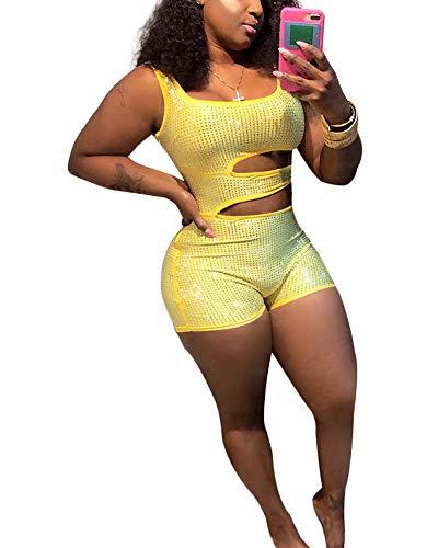 JiherBeauty Womens Sexy Sequins Jumpsuit Sleeveless Cut Out Short Pants Set Bodycon Jumpsuit Clubwear Yellow