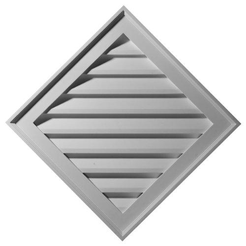 Ekena Millwork GVDI34X34F 34-Inch W x 34-Inch H x 3 1/2-Inch P Diamond Gable Vent Louver, ()