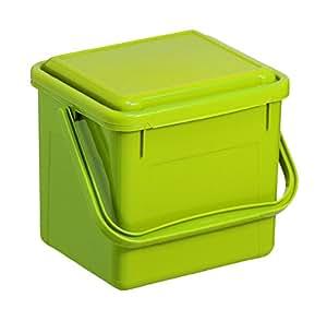 Rotho Compost Cubo bio, cubo de basura para la cocina de plástico con tapa en verde, biomülle imer con 4,5litros, aprox. 21x 20x 18cm, plástico, verde claro, klein (4.5 Liter)
