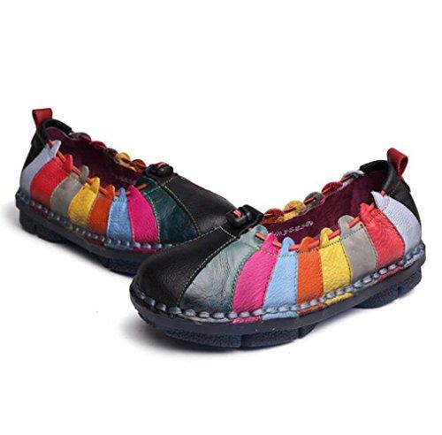 Womens Lederen Kleurrijke Ronde Neus Zachte Bodem Anti Slip-on Platte Schoenen Etnische Stijl Massief Loafers Zwart