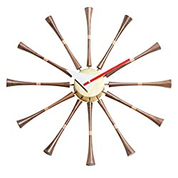 MLF Modern George Nelson Spindle Clock, Classic Wooden Mid Century Handmade Antique Retro Wall Clock, Fit for Living Room, Hall, Office, Bedroom, Dinning Room etc. (Full Range Available)