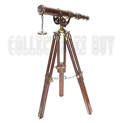 A Vintage Antique Tripod Telescope Brass Nautical Telescopes Harbour Master Stand (Antique Finish): Camera & Photo
