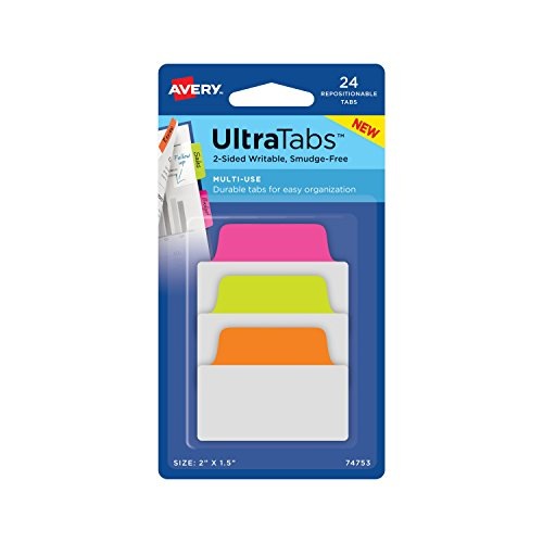 Avery Multiuse Ultra Tabs, 2 x 1.5, 2-Side Writable, Neon Pink/Green/Orange, 24 Repositionable Tabs (74753)