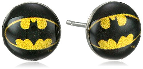 DC Comics Batman Symbol 316L Surgical Steel Stud Earrings 8mm (Batman Ear Ring)