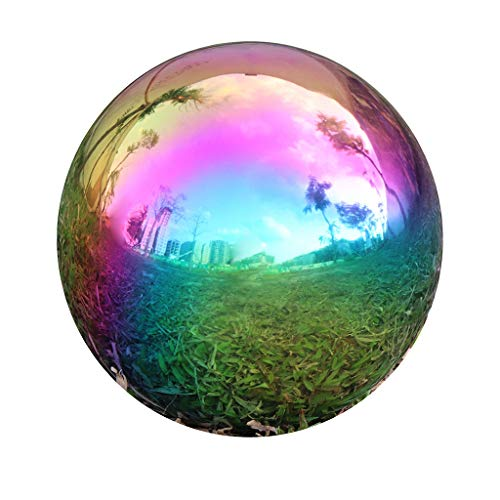 Durable Stainless Steel Gazing Ball, Hollow Ball Mirror Globe Polished Shiny Sphere for Home Garden (Rainbow, 8 Inch)