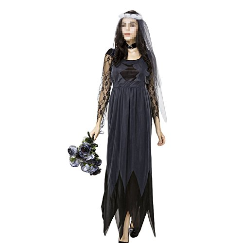 Women's Zombie Ghost Bride Costume Veil long Gothic Halloween Corpse Countess Graveyard Bride Costume Dress Outfits,XX-Large (Corpse Countess Halloween Costume)