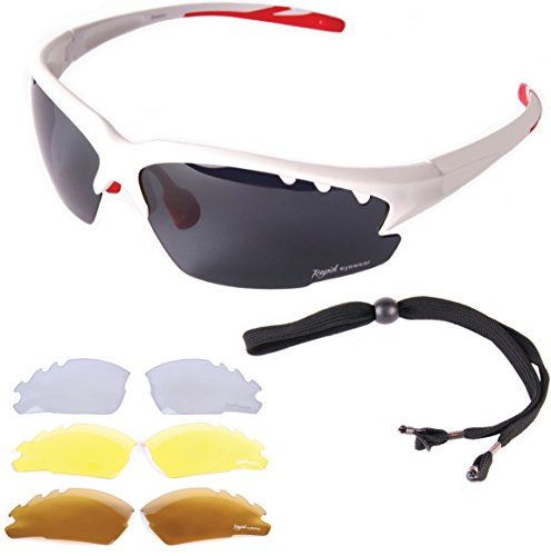 Rapid Eyewear Luna White UV POLARIZED SPORTS SUNGLASSES For Men & Women With Interchangeable Tinted & Clear Lenses. Anti Fog Flash Mirror Lenses. Ideal Glasses For Cycling, Running, ()