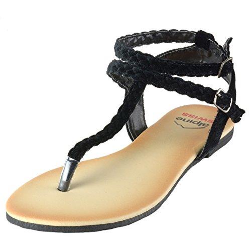 Alpine Swiss Womens Gladiator Sandalen Gevlochten T-strap Slingback Romeinse Platte Schoenen Zwart