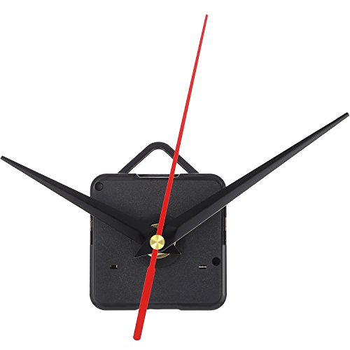 Mudder Quartz Clock Movement Mechanism, 3/25 Inch Maximum Dial Thickness, 1/2 Inch Total Shaft Length (Black and Red)