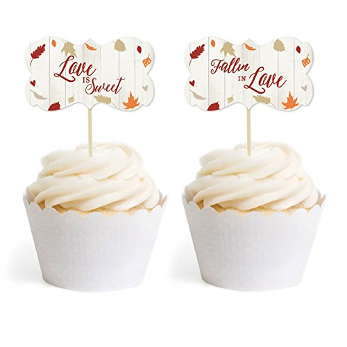 Andaz Press Fallin' in Love Autumn Fall Leaves Wedding Party Collection, Cupcake Topper DIY Party Favors Kit, Fancy Frame Shape, 18-Pack ()
