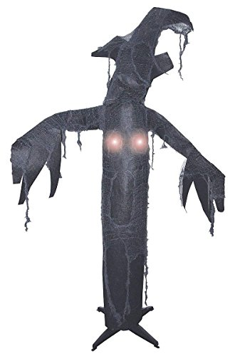 The Gothic Collection Animated Lighted Haunted Black Tree With Moving Head & Hands -