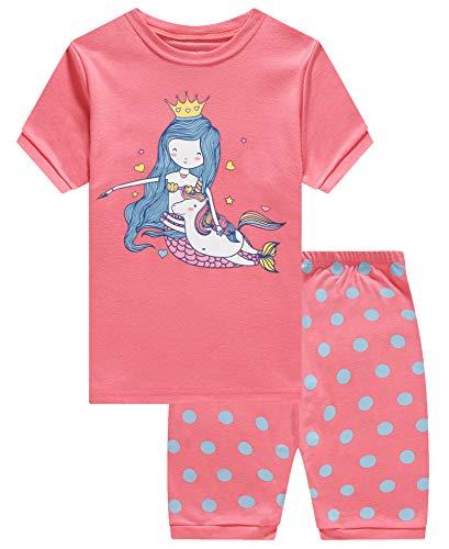 (KikizYe Little Girls Unicorn Mermaid Pajamas Short Sets 100% Cotton Kid Summer Pjs 5)