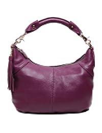 SAIERLONG Women's Tote Single Shoulder Bag Handbag Purple Cow Leather