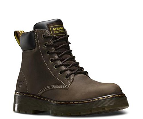 6 Eye Collar Padded Boot (Dr. Martens Men's Winch 7 Eye Boot,Dark Brown Wyoming Leather,UK 6 M)