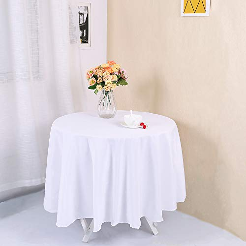 Zdada White 96inch Wedding Party Banquet Round Polyester Tablecloth Table Cover ()